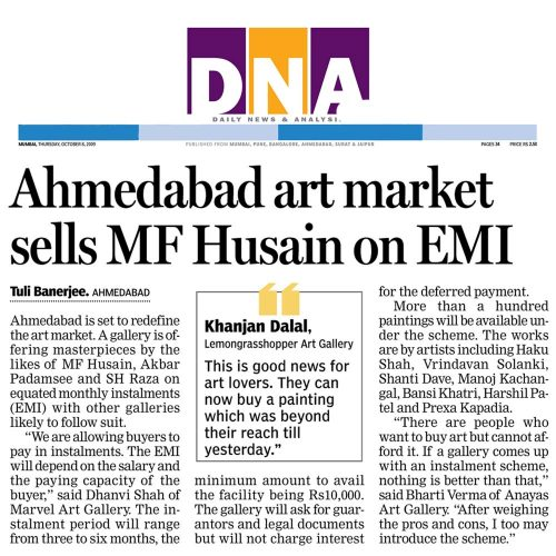 Ahmedabad art market sells M.F.Husain Paintings on EMI