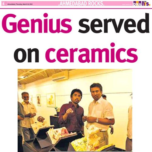 Genius served on ceramics