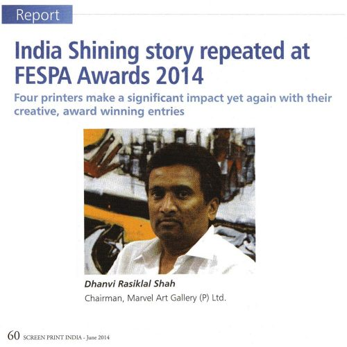 India Shinning Story repeated at FESPA Awards 2014