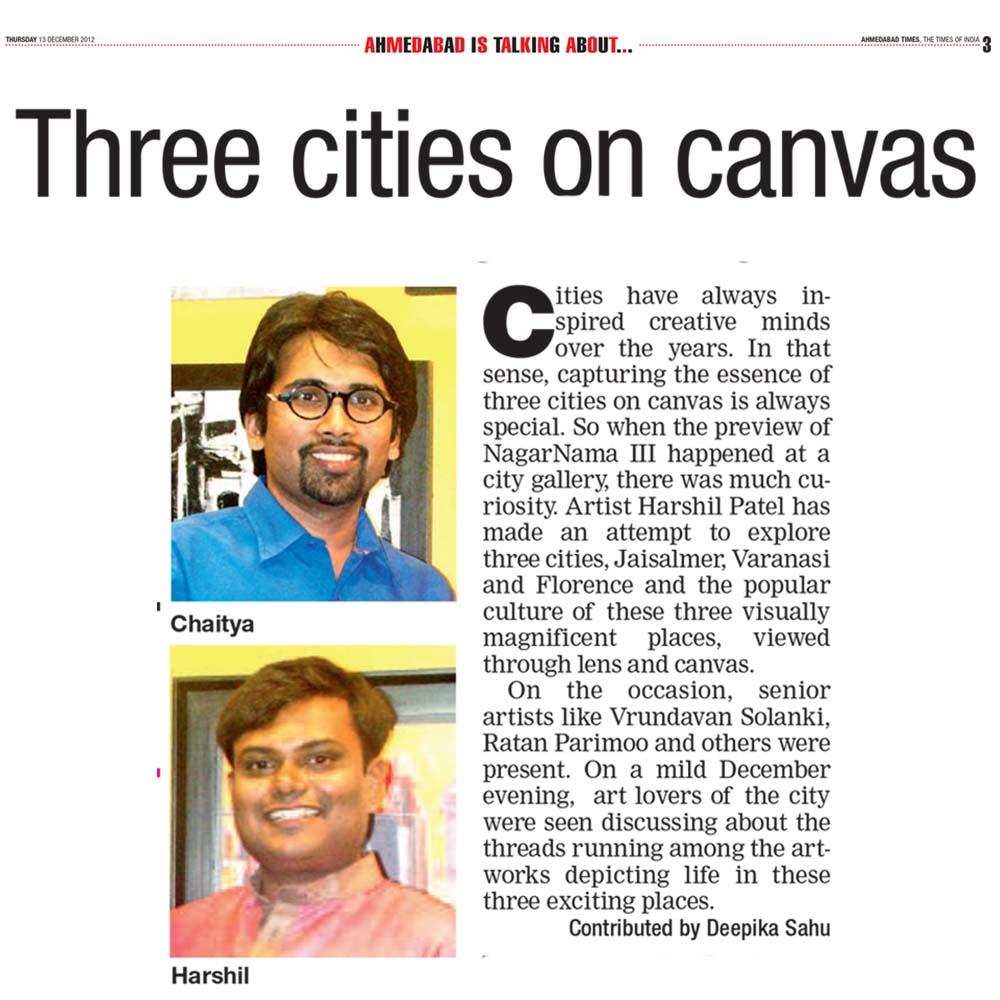 Three cities on canvas